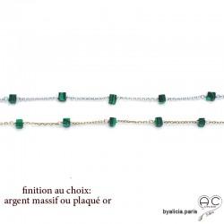 Bracelet avec malachite en cube parsemée sur une chaîne fine plaqué or ou argent, pierre naturelle, création by Alicia