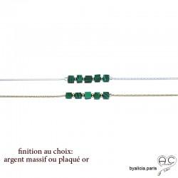 Bracelet avec malachite en cube sur une chaîne serpent fine plaqué or ou argent, pierre naturelle verte, création by Alicia
