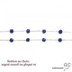 Bracelet avec lapis-lazuli en cube parsemée sur une chaîne fine plaqué or 3MIC ou argent, pierre naturelle, création by Alicia