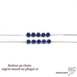 Bracelet avec lapis-lazuli en cube sur une chaîne serpent fine plaqué or 3MIC ou argent, pierre naturelle, création by Alicia