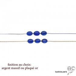 Bracelet avec lapis-lazuli ovale sur une chaîne serpent fine plaqué or ou argent, pierre naturelle bleue, création by Alicia