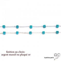 Bracelet avec turquoise d'Arizona en cube parsemée sur une chaîne fine plaqué or ou argent, pierre naturelle, création by Alicia