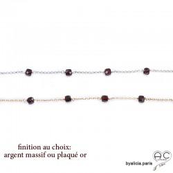 Bracelet avec grenat en cube parsemée sur une chaîne fine plaqué or 3MIC ou argent, pierre naturelle, création by Alicia