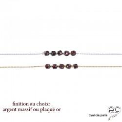 Bracelet avec grenat en cube sur une chaîne serpent fine plaqué or 3MIC ou argent, pierre naturelle, création by Alicia