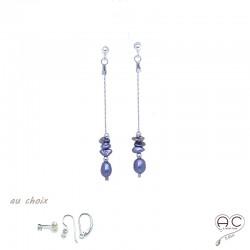 Boucles d'oreilles perle d'eau douce et perles de keshi gris irisée sur une chaîne en argent 925 rhodié, création by Alicia