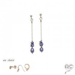 Boucles d'oreilles perle d'eau douce et perles de keshi gris irisée sur une chaîne en plaqué or, création by Alicia