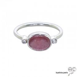 Bague tourmaline rose cabochon entouré par petits zirconiums, anneau fin en argent massif, pierre naturelle