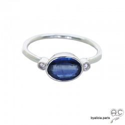 Bague kyanite entouré par petits zirconiums, anneau fin en argent massif, pierre naturelle bleue