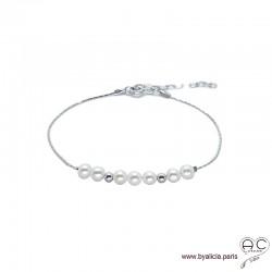 Bracelet fin avec perles de culture d'eau douce sur une chaîne en argent 925 rhodié, pierre naturelle, création by Alicia
