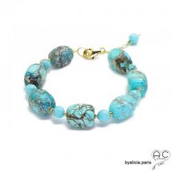 Bracelet avec jaspe océan bleu en cube et plaqué or, pierres semi-précieuses, création by Alicia