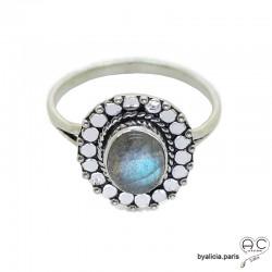Bague labradorite cabochon sertie sur un ovale en argent massif perlé, anneau fin, pierre naturelle, femme