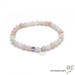 Bracelet avec opale rose et médaille martelé en argent massif, pierres semi-précieuses, création by Alicia