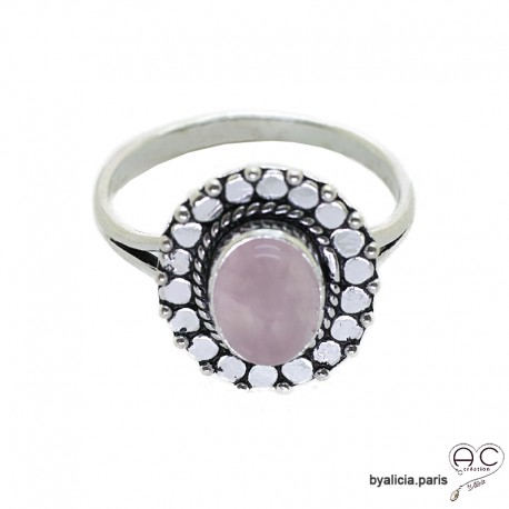 Bague quartz rose cabochon sertie sur un ovale en argent massif perlé, anneau fin, pierre naturelle, femme