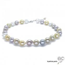 Collier perles baroques naturelles couleurs passtelles, création fait main