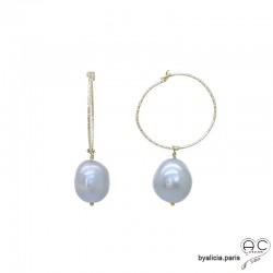 Boucles d'oreilles, créoles perles baroques naturelles grises, plaqué or , création fait main