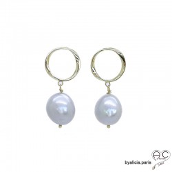Boucles d'oreilles perles baroques naturelles grises, cercle plaqué or , création fait main