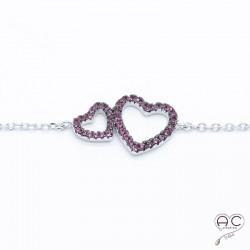 Bracelet deux cœurs zirconium fushia argent 925 rhodié