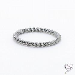 Bague anneau fin torsadé argent 925 noire
