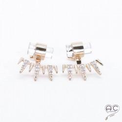 Boucles d'oreilles contours dessous lobes plaqué or rose zirconium