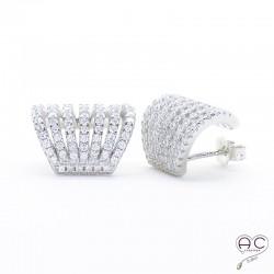 Boucles d'oreilles avec anneaux multiples serties de zirconium brillant, demi-créoles en argent 925 rhodié, femme