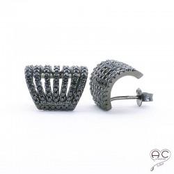 Boucles d'oreilles avec anneaux multiples serties de zirconium noir, demi-créoles en argent 925 rhodié noir, femme
