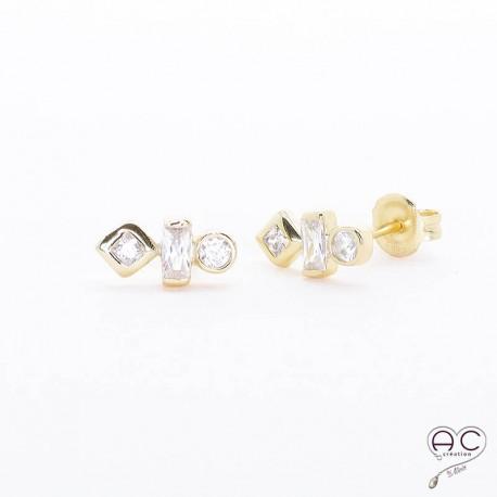 Boucles d'oreilles zirconium blanc et argent rhodié doré puces