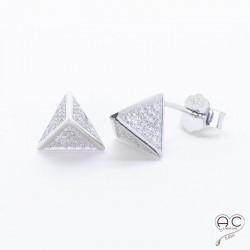 Boucles d'oreilles clous zirconium blanc et argent 925 rhodié puces
