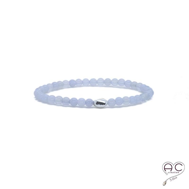 bracelet pierres fines bleu argent calc doine femme semi pr cieuse fin. Black Bedroom Furniture Sets. Home Design Ideas