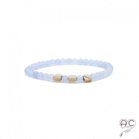 Bracelet pierres semi-précieuses bleues claires, calcédoine, plaqué or