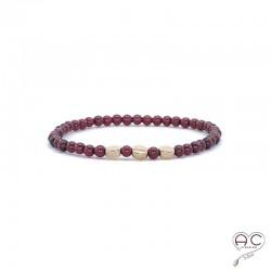 Bracelet pierres semi-précieuses, grenat, plaqué or