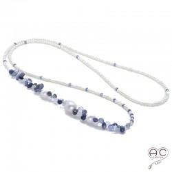 Sautoir perles d'eau douce et pierres semi-précieuses saphir d'eau, pierre de lune