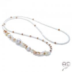 Sautoir perles d'eau douce et pierre semi-précieuse pierre de lune abricot