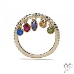 Bague pampilles multicolore sur anneau fin plaqué or sertie de zirconium blanc