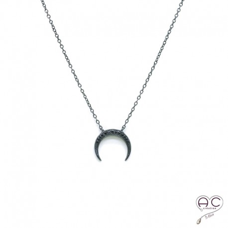 collier noir et argent femme