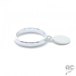 Bague avec pampille médaille ronde sur l'anneau fin en argent 925 rhodié, empilable, femme