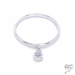 Bague anneau fin avec pampille en zirconium brillant rond, argent 925 rhodié, empilable, femme
