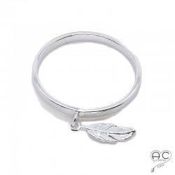 Bague anneau fin avec pampille plume en argent 925 rhodié, empilable, femme