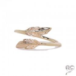 Bague plumes Toi et Moi, anneau fin ouvert en plaqué or, femme
