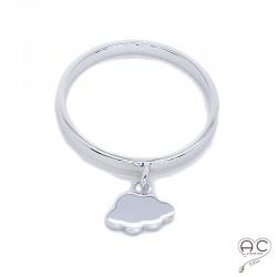Bague anneau fin avec pampille nuage en argent 925 rhodié, empilable, femme