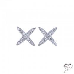 Boucles d'oreilles puce, croisées sertie de zirconium brillant en argent 925 rhodié, clous, petites, femme