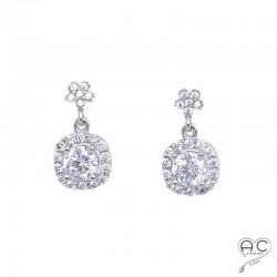 Boucles d'oreilles pendantes avec zirconium brillant en argent 925 rhodié, femme