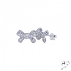 Boucles d'oreilles nœud serties de zirconium brillant, en argent 925 rhodié, puce, clous, femme