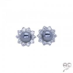 Boucles d'oreilles avec perles grises et zircon brillant en argent 925 rhodié, puces, clous, femme