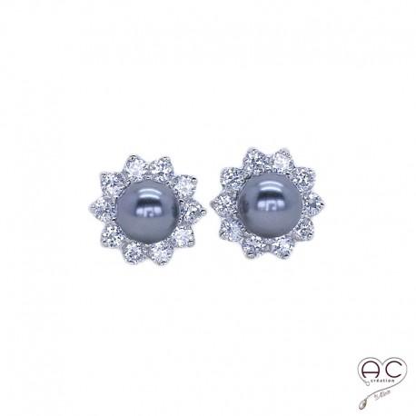 Boucles d'oreilles perles grises argent 925 rhodié zirconium blanc