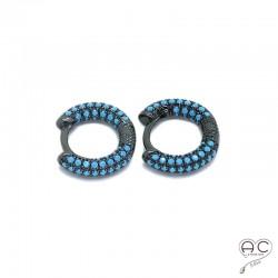 Boucles d'oreilles petites créoles argent 925 rhodié noir et turquoise
