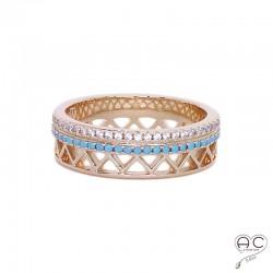 Bague anneau serti avec turquoises nano et zirconium blanc, en plaqué or, femme