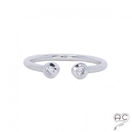 Bague Toi et Moi anneau ouvert argent 925 rhodié zirconium