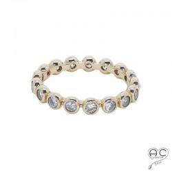 Bague anneau fin plaque or rosé serti de zirconium blanc tour complet
