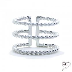 Bague anneaux multiples torsadés large ouverte argent 925 rhodié