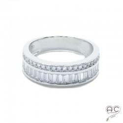 Bague avec deux anneaux sertie de zirconium brillant blanc en argent 925 rhodié, femme